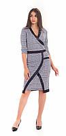 Стильное демисезонное женское трикотажное платье с отделкой play S 44 гусиная лапка s19APw12