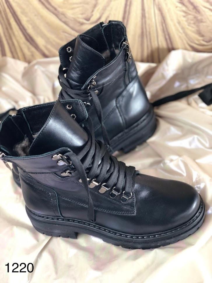 Стильные женские ботинки чёрного цвета на шнуровке 36-40 р