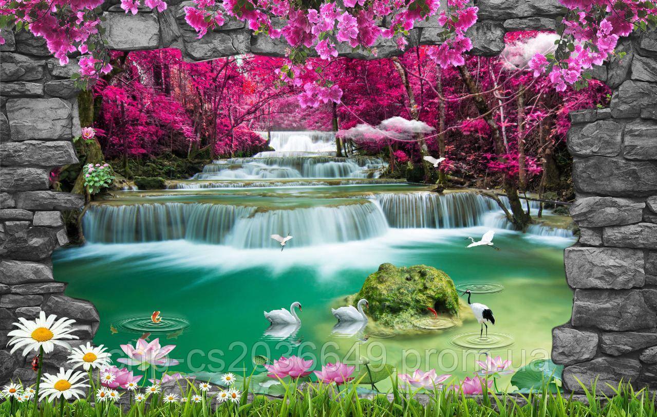 Фотоплитка Водопад  -  фотопанно на плитке 30х60см.
