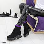 Женские ботинки в черном цвете на танкетке, эко замша, фото 2