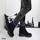 Женские ботинки в черном цвете на танкетке, эко замша, фото 3