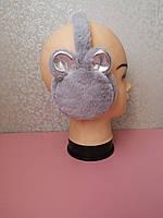 Теплые наушники серые с ушками