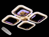 Светодиодная люстра с пультом-диммером и синей подсветкой золото AS8060-4