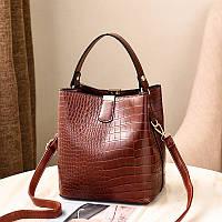 """Коричневая женская сумка под крокодила с наплечным ремнем """"Lagos"""""""