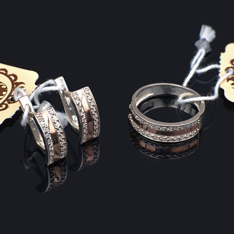 Серебрный комплект украшений с золотом 17.5 размер