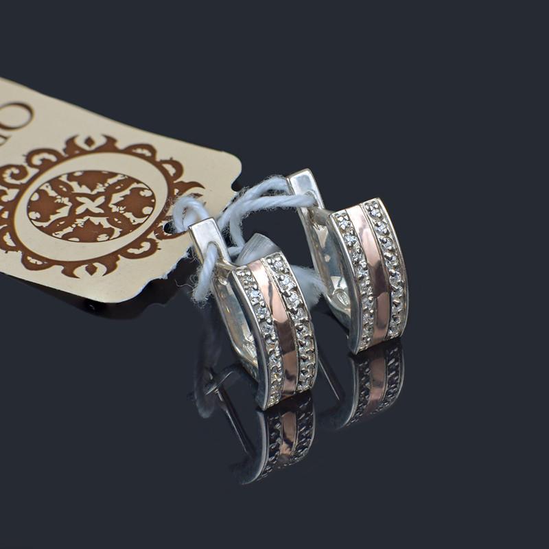 Серьги Орияна - серебро с золотом