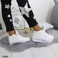 Женские кроссовки зимние белые 16996