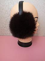 Теплые наушники черные из натурального меха, кролик