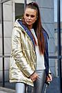 Женская куртка весна двухсторонняя с капюшоном синий с золотом, фото 2