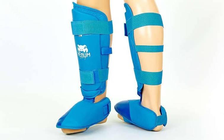 Защита голени с футами для единоборств PU VNM MA-5857-B (р-р S-XL, синий) L, фото 2