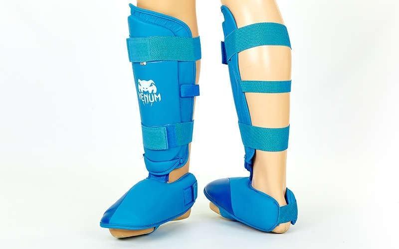 Защита голени с футами для единоборств PU VNM MA-5857-B (р-р S-XL, синий) L