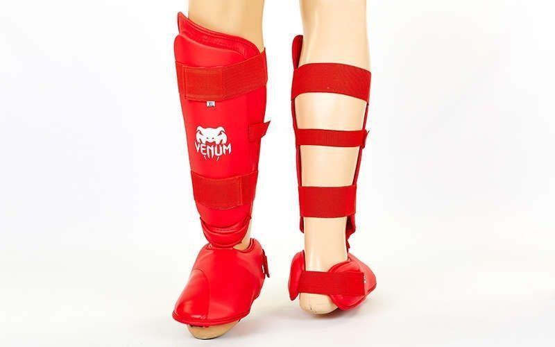 Защита голени с футами для единоборств PU VNM MA-5857-R (р-р S-XL, красный) L