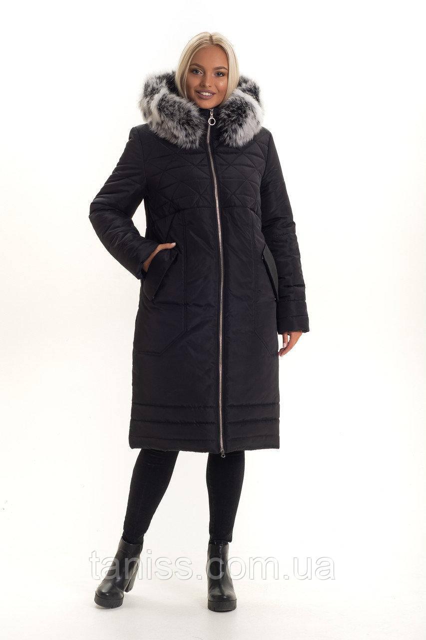 Зимний, женский пуховик большого размера, с мехом , мех песец..размеры 46,48 черный (130)Чбк