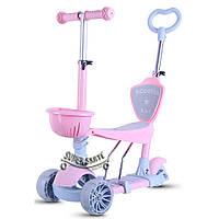 Трехколесный Самокат/Беговел 5в1 Scooter  - С родительской ручкой - Розовый