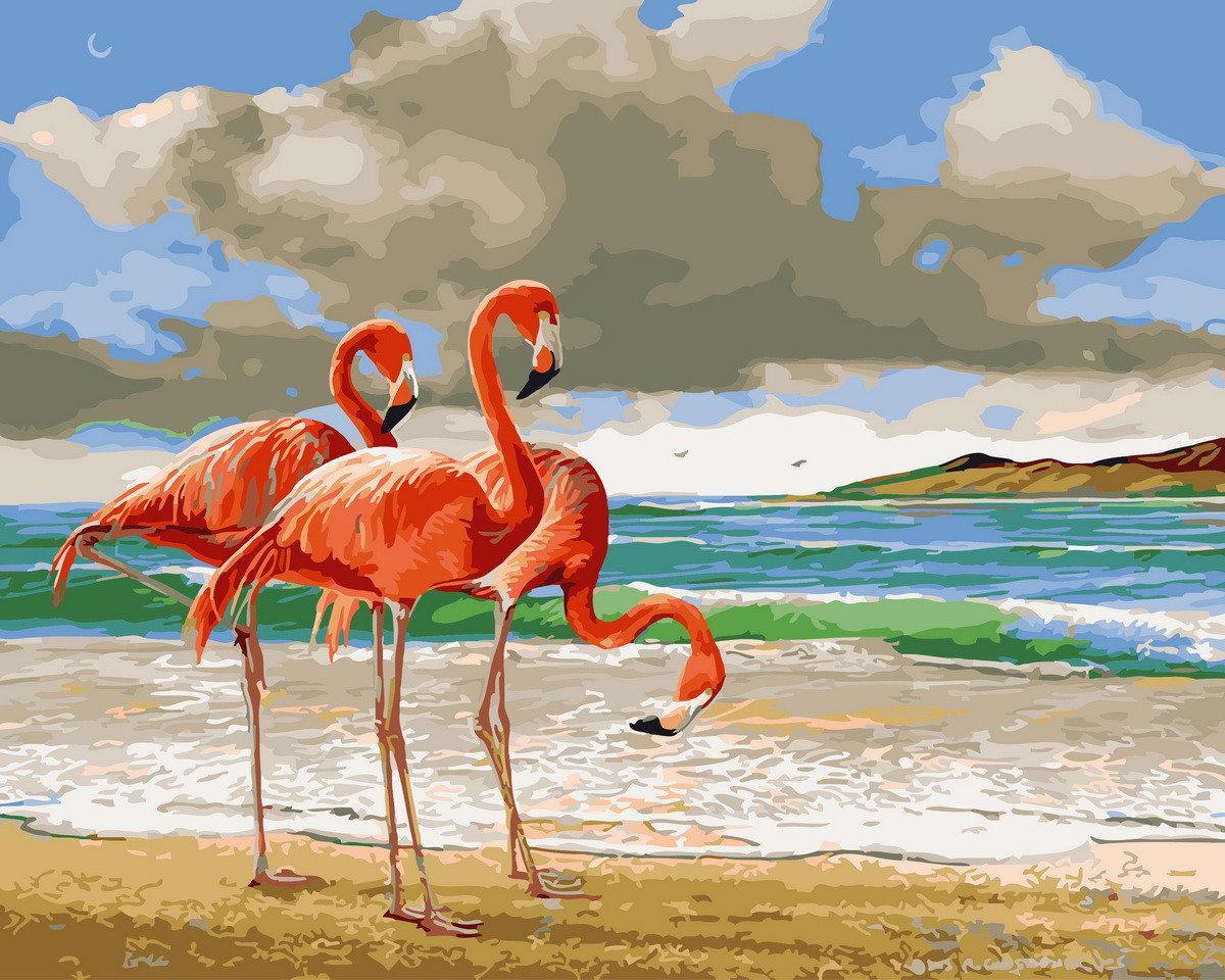 Картина по номерам Фламинго на берегу BK-GX29378 Rainbow Art 40 х 50 см (без коробки)