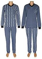 Пижама теплая трикотажная мужская 18204 Pocket Soft Grey&Blue коттон начес, р.р.44-62, фото 1