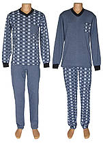 Пижама теплая трикотажная мужская 18204 Pocket Soft Grey&Blue коттон начес, р.р.44-62