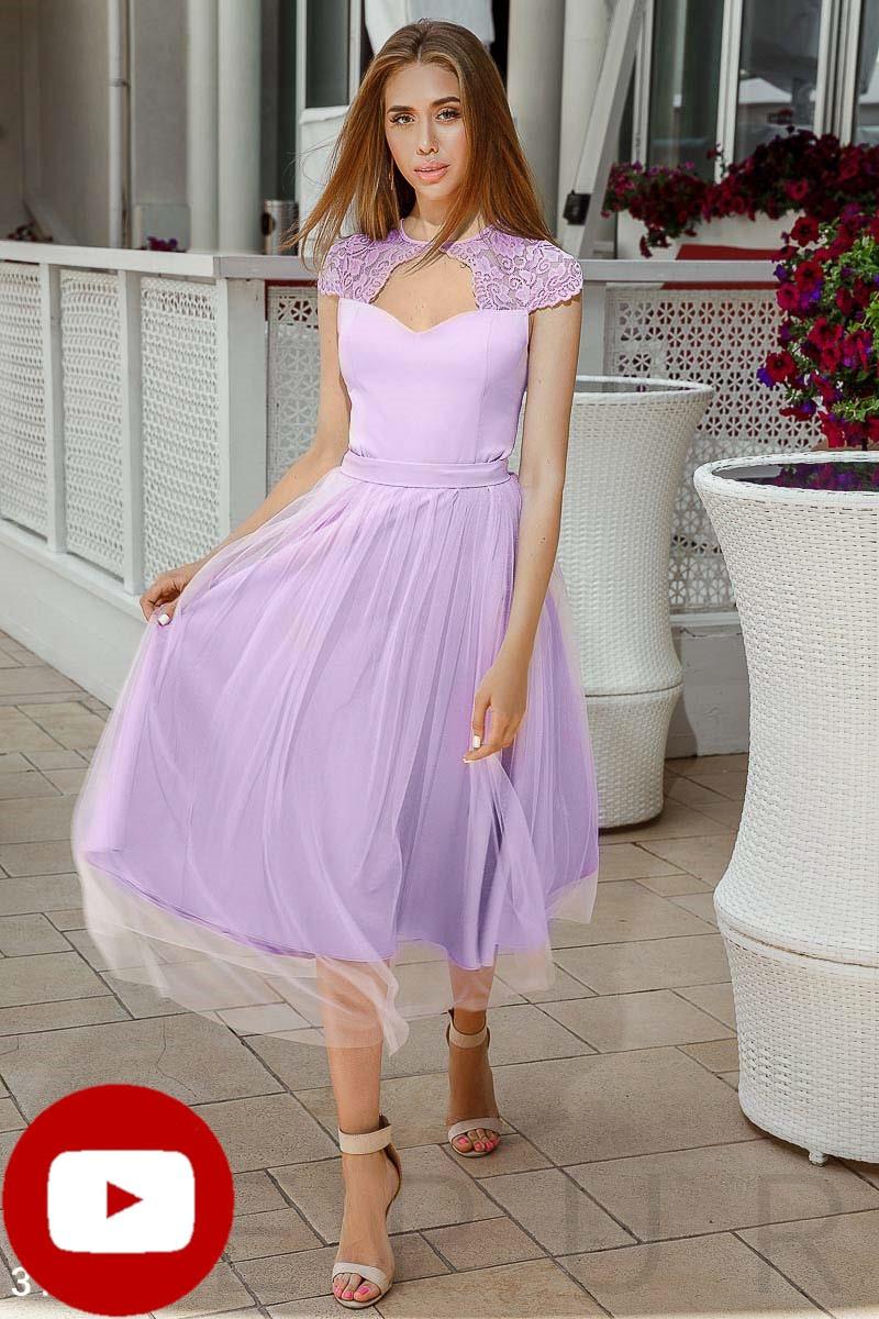 Вечернее платье миди с поясом цвет лавандовый
