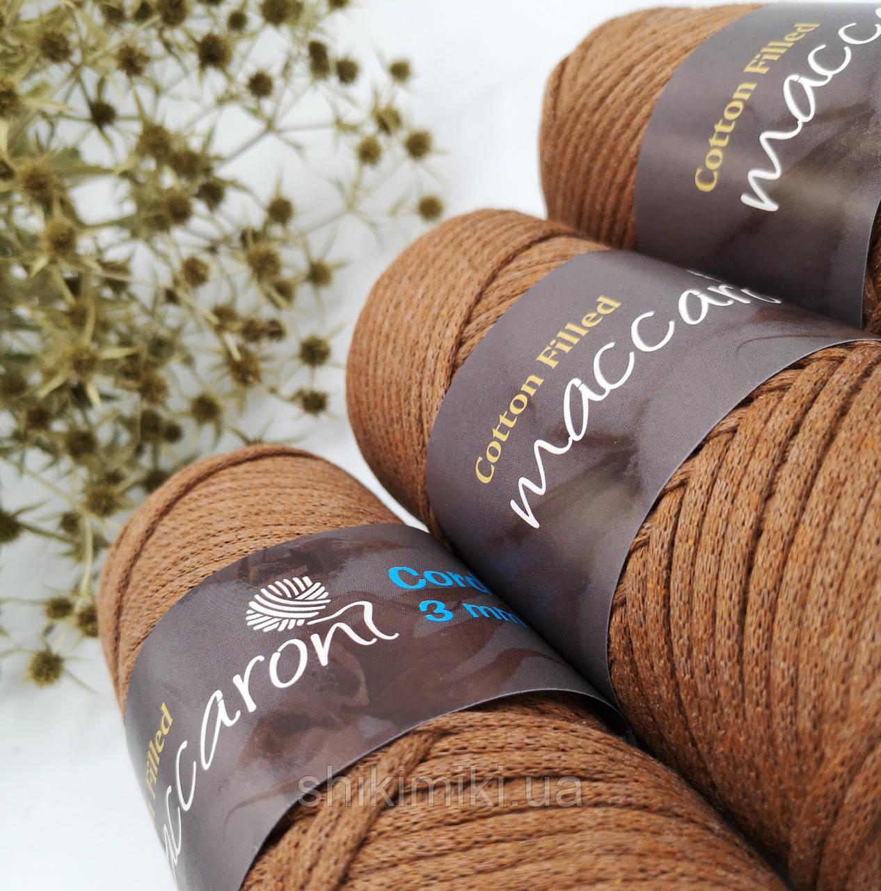 Трикотажный хлопковый шнур Cotton Filled 3 мм, цвет Кемел