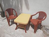 Комплект стол журнальный пластиковый + 2 кресла, фото 1