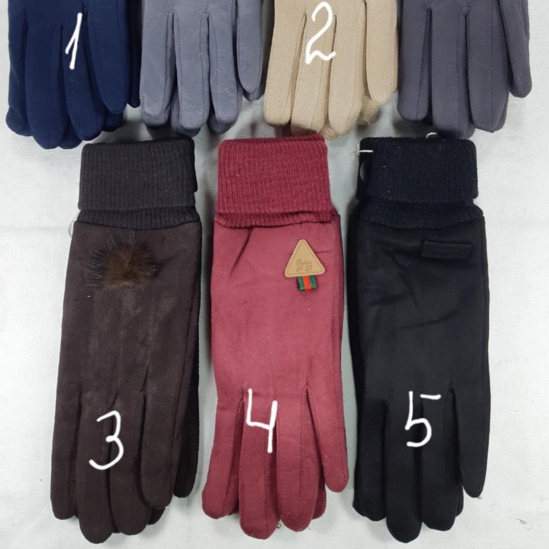 Женские перчатки зима замш внутри мех
