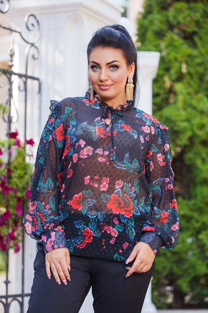 Женская шифоновая блузка с отделкой рюш 50-52, 54-56