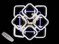 Светодиодная люстра с пультом-диммером и синей подсветкой черный хром AS8060-4+4, фото 1