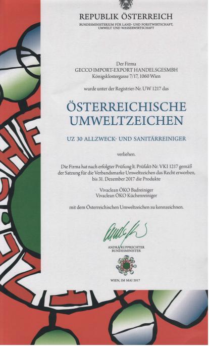 Сертификат качества Вива Клин Вивасан