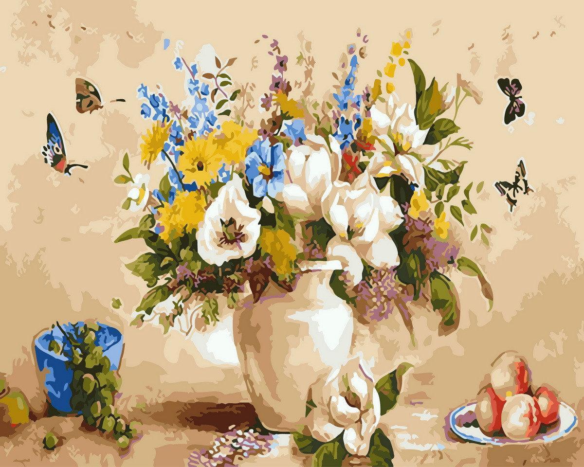 Картина раскраска по номерам Букет и бабочки BK-GX29456 Rainbow Art 40 х 50 см (без коробки)