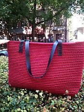 Сумка шоппер из трикотажной пряжи Бобилон Бордовое Бордо 3-5 мм от @Zhanna_Turlo