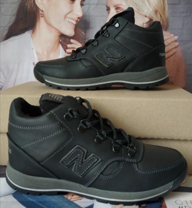New Balance детские зимние ботинки кожа Кроссовки для подростков на меху и шнурках сапоги чёрные нью баланс Nb