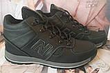 New Balance детские зимние ботинки кожа Кроссовки для подростков на меху и шнурках сапоги чёрные нью баланс Nb, фото 2