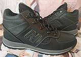 New Balance детские зимние ботинки кожа Кроссовки для подростков на меху и шнурках сапоги чёрные нью баланс Nb, фото 3