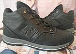 New Balance детские зимние ботинки кожа Кроссовки для подростков на меху и шнурках сапоги чёрные нью баланс Nb, фото 6
