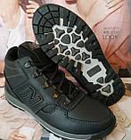New Balance детские зимние ботинки кожа Кроссовки для подростков на меху и шнурках сапоги чёрные нью баланс Nb, фото 7