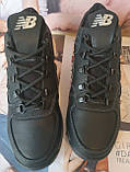 New Balance детские зимние ботинки кожа Кроссовки для подростков на меху и шнурках сапоги чёрные нью баланс Nb, фото 8