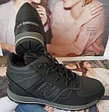 New Balance детские зимние ботинки кожа Кроссовки для подростков на меху и шнурках сапоги чёрные нью баланс Nb, фото 9