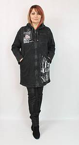 Турецкий женский коттоновый кардиган с капюшоном, размеры 50-56