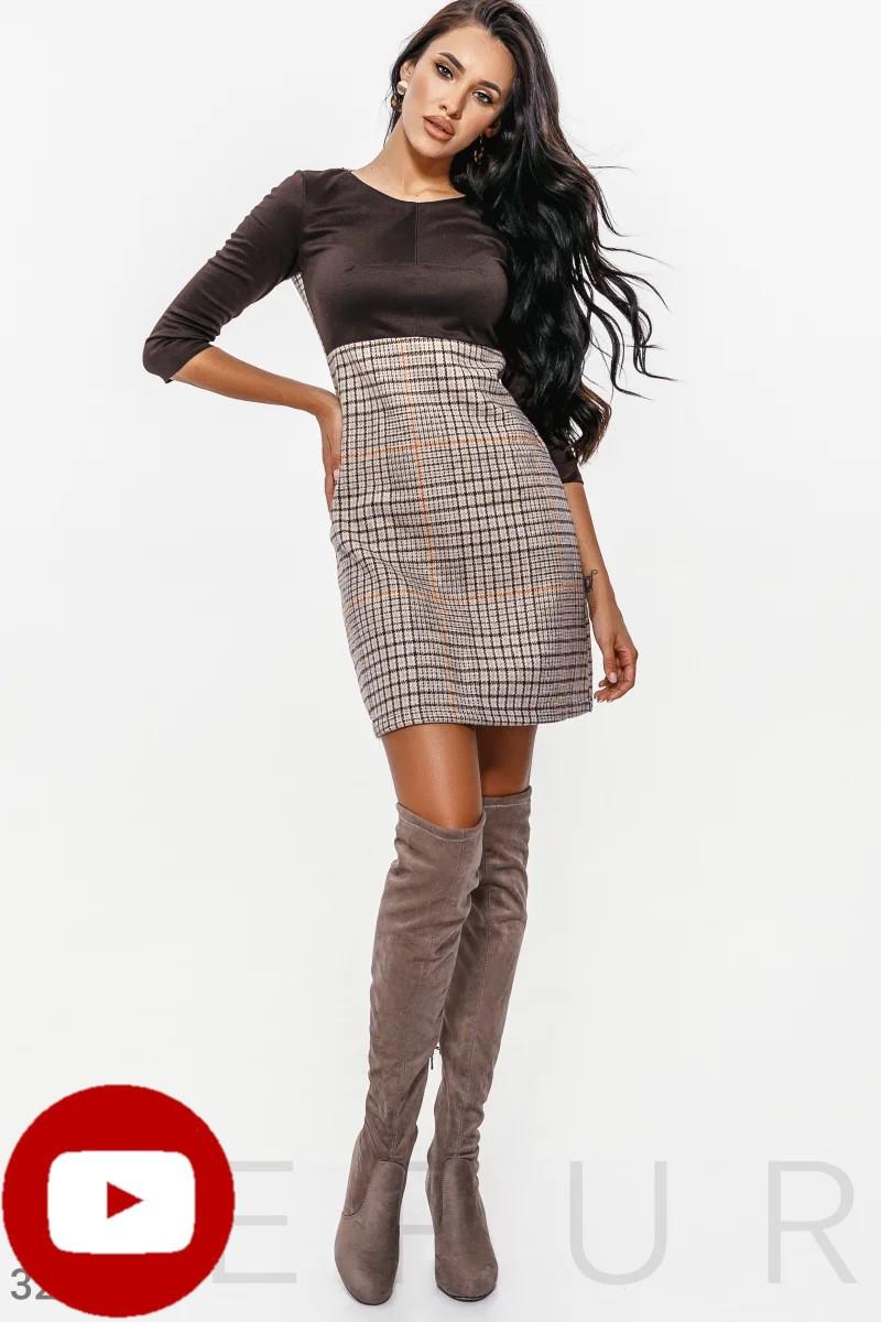 Теплое платье с рукавом 3/4 цвет серо-черный