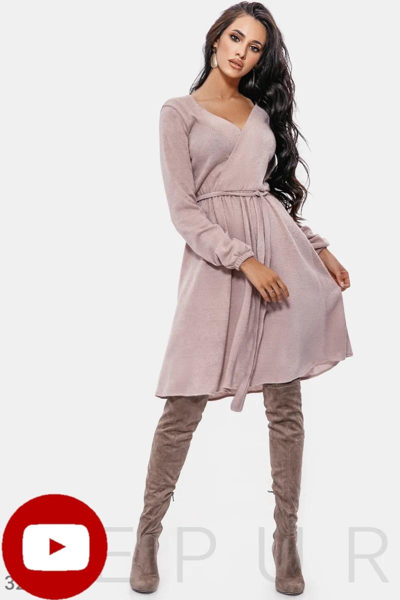 Расклешенное платье миди на фиксируемый запа́х объемный длинный рукав цвет пудровый
