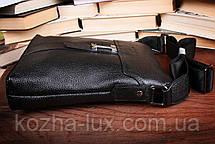Сумка мужская большая чёрная, кожа, фото 2
