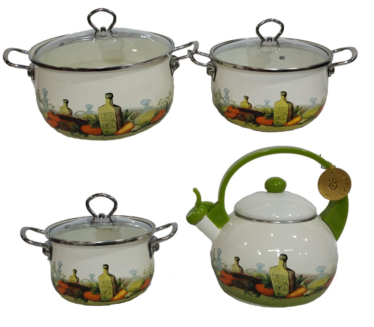 Набор эмалированных кастрюль и чайник Edenberg EB-3372-D