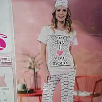 Женская пижама футболка и бриджи на каждый день, размер S, m, l,Хл, новинка 2019 года,качественный трикотаж