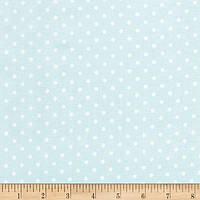 """Ткань для пэчворка и рукоделия американский хлопок  """"Белые точки на небесно-голубом"""", 23*55 см"""