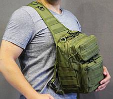 Однолямочный рюкзак, штурмовой тактический рюкзак на 9 литров  Олива (ta9-olive), фото 2