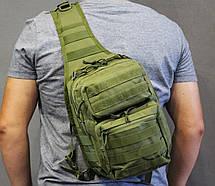 Однолямочный рюкзак, штурмовой тактический рюкзак на 9 литров  Олива (ta9-olive), фото 3