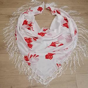 Шифоновый платок Красный цветок метровый