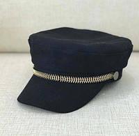 Женский картуз, кепи, фуражка с цепью змейкой черный, фото 1