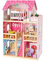 """Деревянный кукольный домик для Барби EcoToys """"Малиновая резиденция"""""""