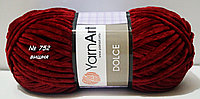 Нитки пряжа для вязания велюровая плюшевая DOLCE YarnArt Дольче Ярнарт № 752 - вишня